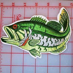 Large Mouth Bass Fish Patch 6 x 4.5 Colorful Large Jacket Vest Patch