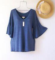 New~Cupio~Blue Peasant Blouse Shirt Ruffle Sleeve V Neck Boho Top~Size Large L