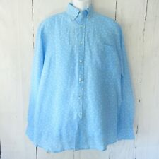 Paul & Shark Yachting Linen Shirt 42 L Large 16.5 Blue Floral Button Down Italy