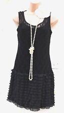 Taille 6 8 20 S charleston déco garçonne Gatsby Style dentelle noire robe 2 US 4 EU 36
