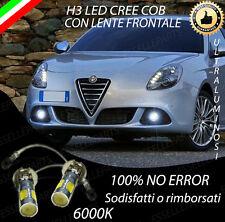 COPPIA LAMPADE FENDINEBBIA H3 LED CREE COB CANBUS PER ALFA ROMEO GIULIETTA 6000K
