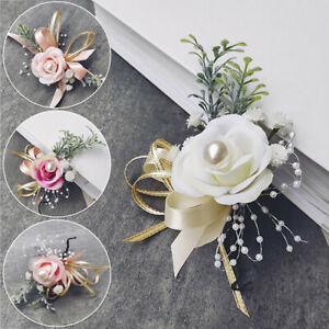 Bride Bridesmaid Pearl pink white Artificial Rose Wrist Flowers Wedding Party
