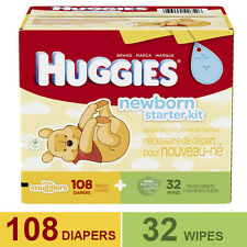 HUGGIES Little Snugglers Newborn Starter Kit 108 Ct & 32 PK Gentle Wipes