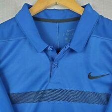 NIKE GOLF Size 2XL Mens Blue Striped Polo Shirt Dri-Fit Breathable Stretch UPF+