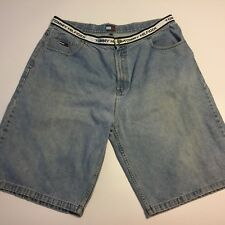 VTG 90s TOMMY HILFIGER Spell Out Waistband Denim Shorts Baggy Jeans Hip-Hop 42