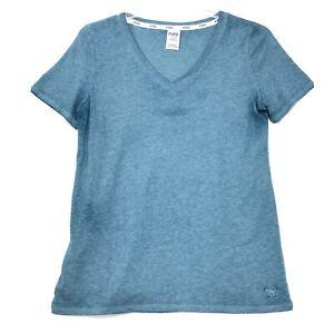 Pink Victoria's Secret V-Neck T-Shirt Womens Sz L Large Blue Green Short Sleeve
