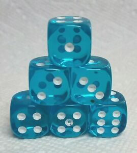Dice 16mm Chessex TL Teal w/White Pips - Set of Six!  Feel the Teal Appeal!