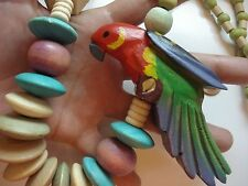 "Huge Vintage Artisan Hand-made painted Wooden Bead Parrot 28"" Necklace~Free Ship"