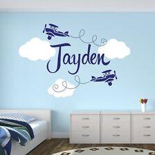 New Customized Airplane Name Decal Nursery Decor Kids Room Vinyl Wall Sticker