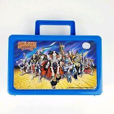 Vintage 90s SKELETON WARRIORS cartoon Pencil Box blue Landmark Entertainment