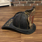 Antique CAIRNS & BROTHER LEATHER FIRE HELMET Very Early HAMPDEN 1867