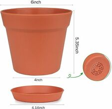 Pots for Plants, 15 Pack 6 inch Plastic Planters with Multiple Drainage Holes