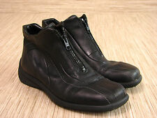 Ecco Zip Front Ankle Boots Women's Size 4.5 Black Leather Shoes Latex Soles