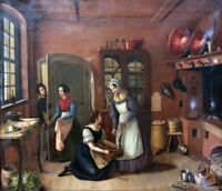 """perfect 30x30 oil painting handpainted on canvas""""Inside a kitchen""""@6710"""