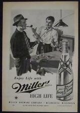 1945 Miller Beer *Enjoy Life More* Ad Talking Fishing and Drinking Beer