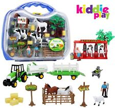 Kiddie Play Farm Toys Set for Kids with Animals Milking Station livestock