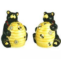 New Ceramic Bears Salt and Pepper Shakers Set Brown Bears w/ Honey Bee Hives