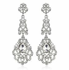 Victorian Silver Austrian Crystal Rhinestone Chandelier Dangle Earring Prom E113