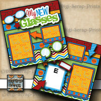 MY NEW GLASSES boy girl 2 premade scrapbook pages paper piecing layout DIGISCRAP