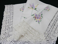 Vintage Linen Tablecloth-Hand Embroidered Lupin Flowers-Lace Edge