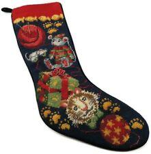 VINTAGE Land's End Wool Needlepoint Christmas Stocking Velvet Back Royal Blue