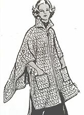 776 Vintage Design PONCHO W/POCKETS Pattern to Crochet (reproduction) SZ 8-18