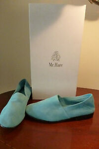 """Designer Mr Hare Suede/lthr Loafers/ """"Slippers""""Turquoise Size 2 Rrp £240-Unisex"""