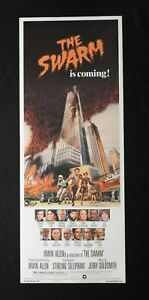 """1978 """"THE SWARM"""" 14x36 Movie Poster NEVER ROLLED Slim Pickens Jose Ferrer NICE"""