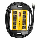 10 Outlet Heavy Duty Surge Protector Power Strip - 14/3 SJT Black and Yellow