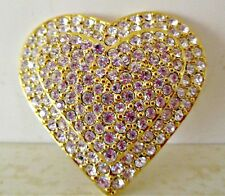 Beautiful Signed Joan Rivers Gold & Pave Crystal Heart Pin/Brooch