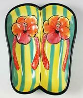 Clay Art Hand Painted Flip Flops Dip Bowl Serving Dish 2008 Discontinued Sandals
