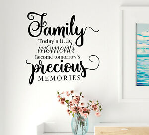 Vinyl Wall Decal Family Precious Memories Phrase Stickers 22.5 in x 22 in gz299