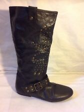 Faith Black Mid Calf Leather Boots Size 3