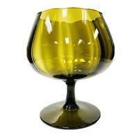 VTG Empoli Italy Optic Smokey Green/Yellow & Black Brandy Snifter Unusual Shape