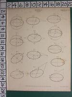 1809 Datato Antico Stampa ~Conics~ Eclipse Vari Diagrammi