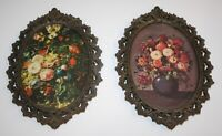 2-Vtg Cheswick ACTION Victorian Metal Oval Ornate Picture Frame Made In Italy 8""