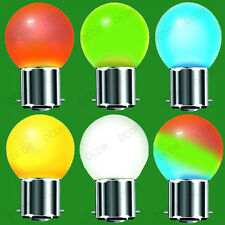 1W Coloured Golf LED Low Energy Festoon Light Bulb, B22, BC Indoor Outdoor Lamps