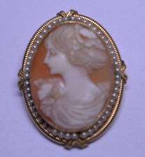 Antique Esemco 10K Yellow Gold Signed Shell Cameo Pin With Seed Pearl Border