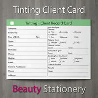 Tinting Client Record Card Treatment Consultation Beauty Salons Spa A6