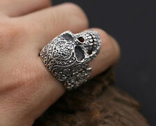 NEW! CUSTOM 925 STERLING SILVER FLORAL CARVED SUGAR SKULL RING (all sizes)