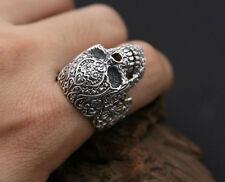 NUOVO! Custom 925 Argento Sterling Floreale Intagliato Sugar Skull Ring (tutte le dimensioni)