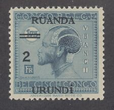Ruanda Urundi Sc 36 MNH. 1931 2fr surcharge on 1.75fr dark blue Native, fresh