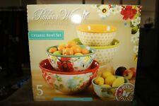 The Pioneer Woman Vintage Collection 5 Piece Ceramic Bowl Set Floral Flea Market