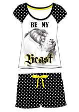 Ladies Girls Novelty Disney Beauty & the Beast Belle Black Shortie Pyjama 8-22