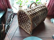 Wicker Cat / Small Dog Carry Basket / Cage Size 16x11x12 inches