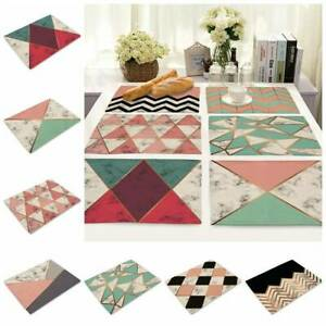 Mable Geometric Placemat Cotton Linen Home Dining Kitchen Table Mat Cup Pad