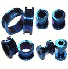 PAIR-Titanium Blue Screw On Tunnels 02.5mm/10 Gauge Body Jewelry