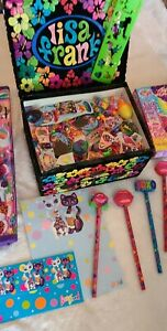 Lisa Frank Lot Lisa Frank Box, Folder, Pencils, Stickers, Stamps mixed New / Vtg