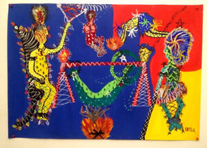 Native Americans/ Indians- Abstract Art Painting- AMERICAN? ARMENIAN Artist SONA