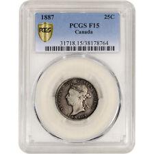 1887 Canada Silver 25 Cents 25C - PCGS F15 KM# 5